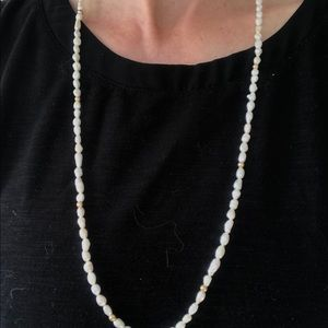 "Jewelry - 29"" fresh water pearl necklace with gold beads"